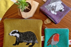 The Canny Squirrel_Harris Tweed badger zip pouch_£30_Harris Tweed small coin purses £26