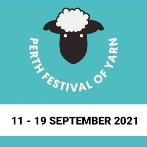 Perth Festival of Yarn Logo with dates 11 - 19 September 2021
